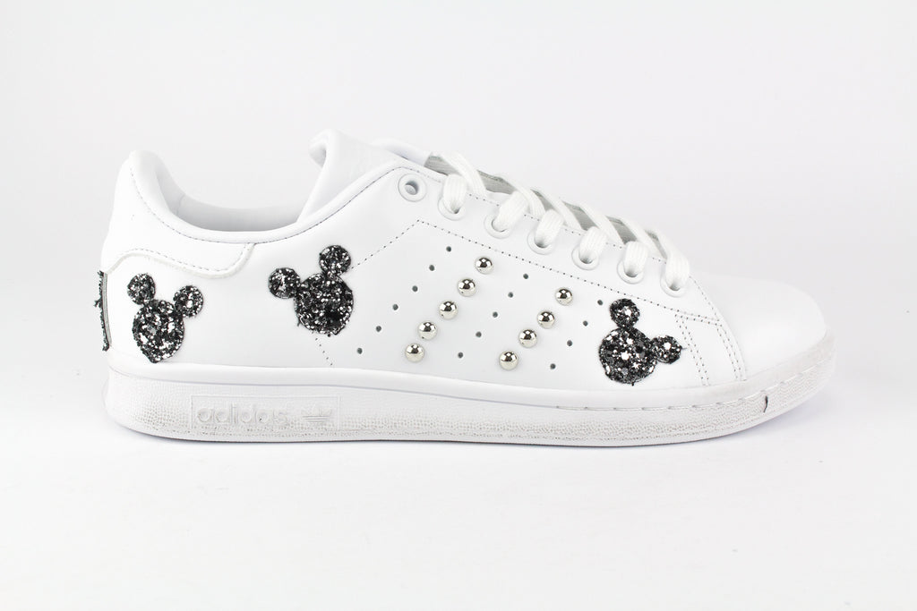 Adidas Stan Smith Topolini Black Silver Glitter & Borchie