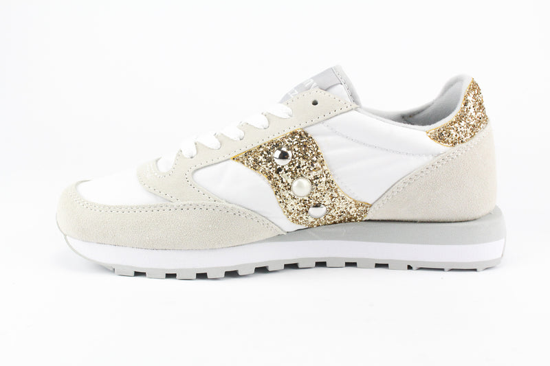 Saucony Jazz White Gold Glitter & Borchie