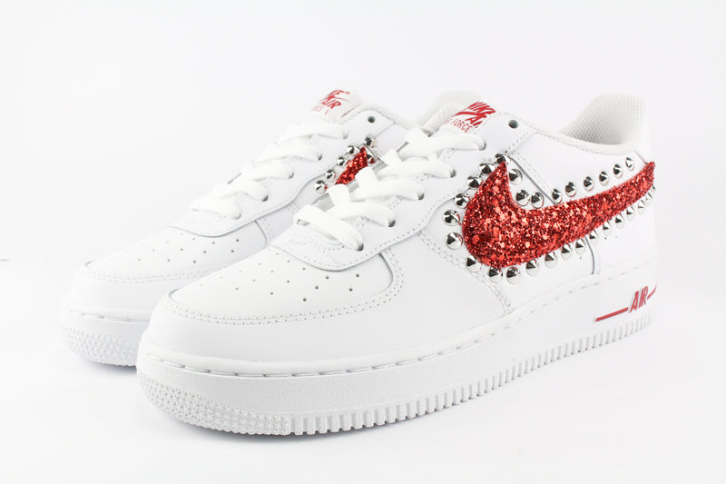 Nike Air Force 1 '07 Red Glitter & Borchie