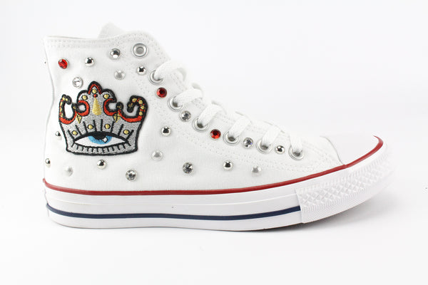 Converse All Star White Personalizzate Silver Crown & Strass