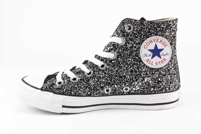 Converse All Star Black Silver Glitter & Perle