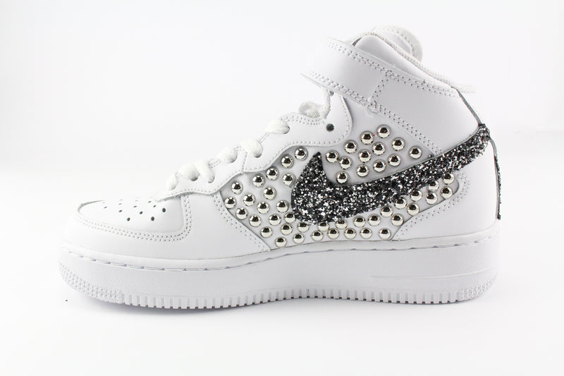 Nike Air Force 1 '07 Mid Borchie & Black Silver Glitter