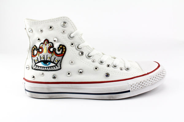 Converse All Star White Silver Crown & Borchie