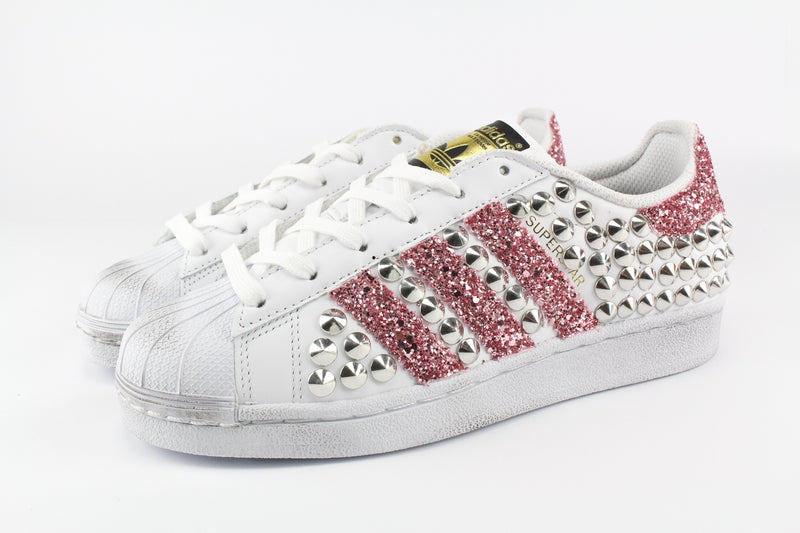 Adidas Superstar Personalizzate Total Borchie & Pink Glitter