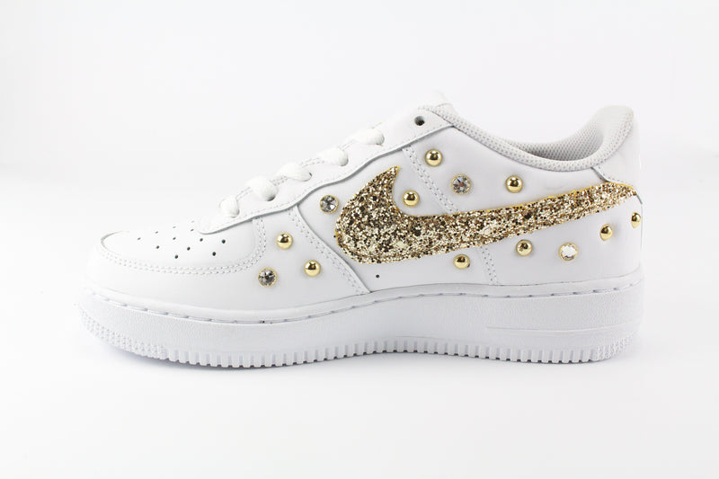 Nike Air Force 1 '07 Gold Glitter & Strass