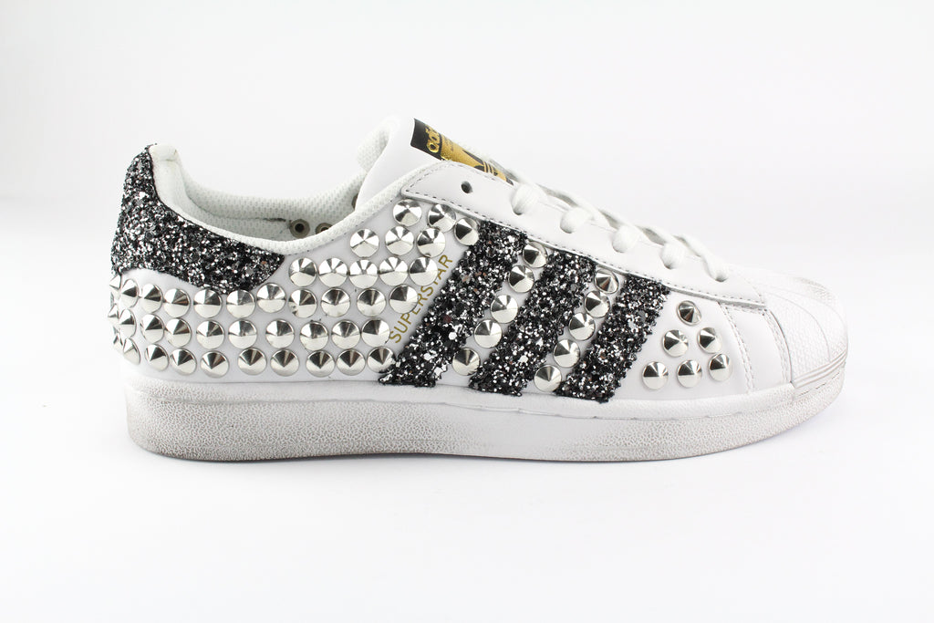 Adidas Superstar Total Borchie & Black Silver Glitter