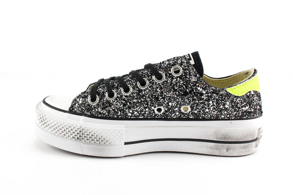 Converse All Star Platform Total Glitter & Yellow Fluo