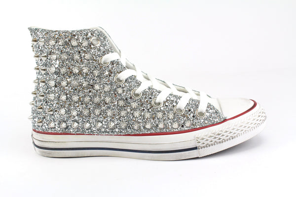 Converse All Star White Total Glitter & Borchie