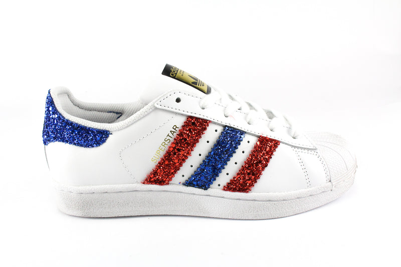 Adidas Superstar Red & Bluette Glitter