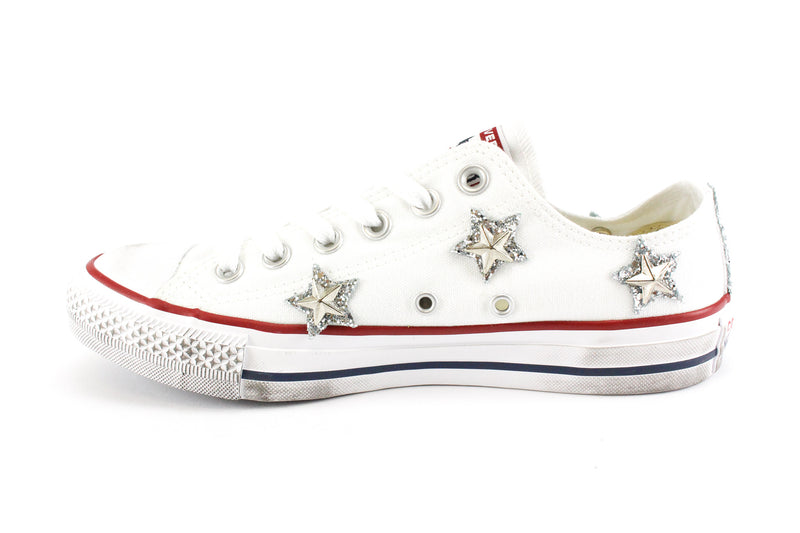 Converse All Star White Stelle Glitter Silver