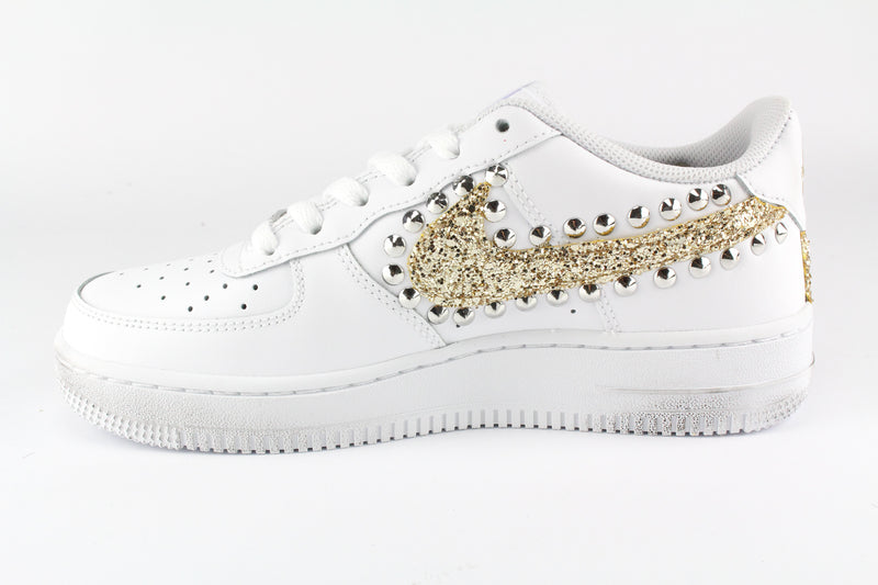 Nike Air Force 1 '07 Gold Glitter & Borchie
