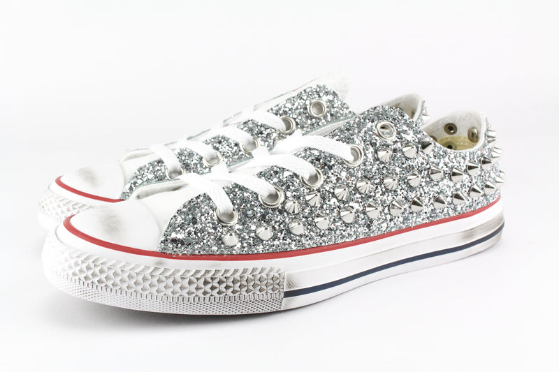 Converse All Star Silver Glitter & Borchie