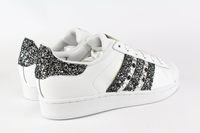 Adidas Superstar Black Silver Glitter & Strass