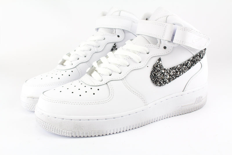 Nike Air Force 1 '07 Mid Black Silver Glitter