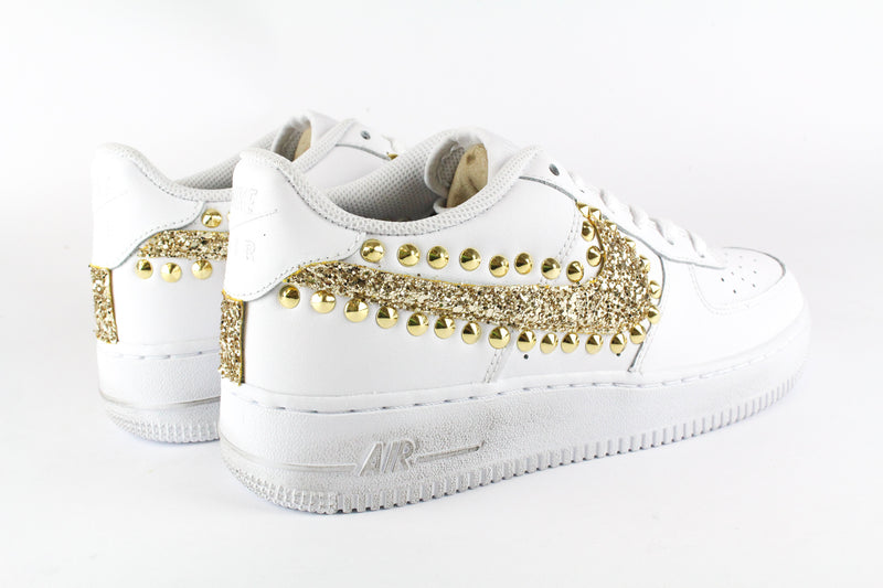 Nike Air Force 1 '07 Gold Glitter & Borchie Gold