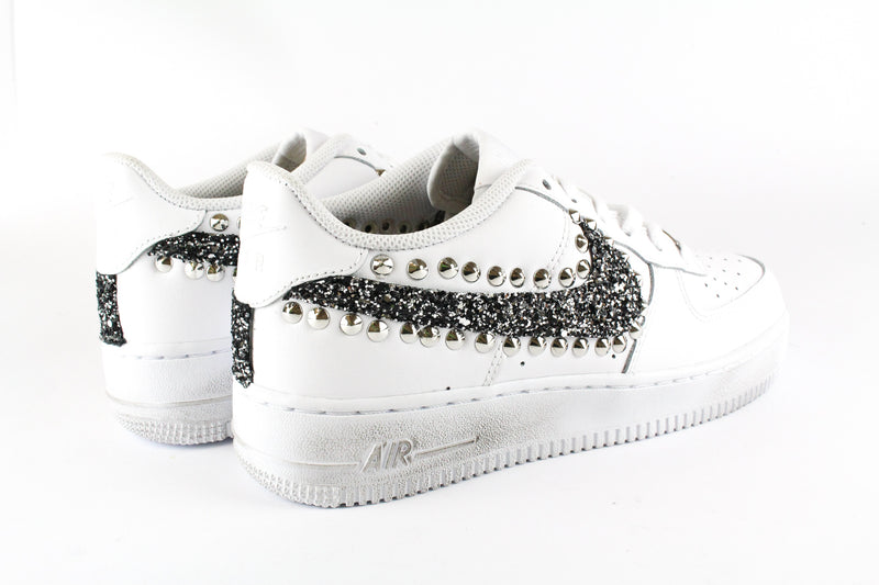 Nike Air Force 1 '07 Black Silver Glitter & Borchie