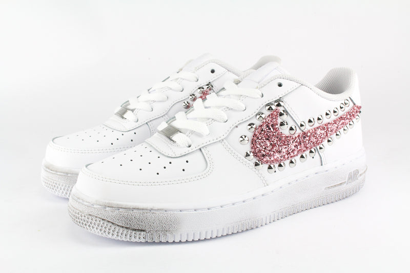 Nike Air Force 1 '07 Pink Glitter & Borchie
