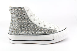 Converse All Star Platform Silver Glitter & Total Borchie