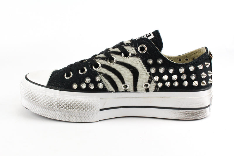 Converse All Star Platform Cavallino Zebrato & Total Borchie