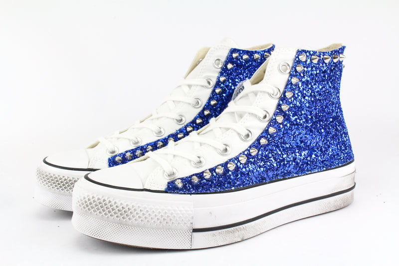 Converse All Star Platform Bluette Glitter & Borchie
