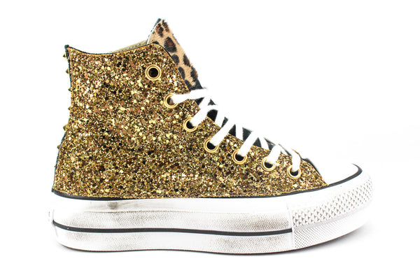 Converse All Star Platform Black Total Gold & Cavallino Maculato