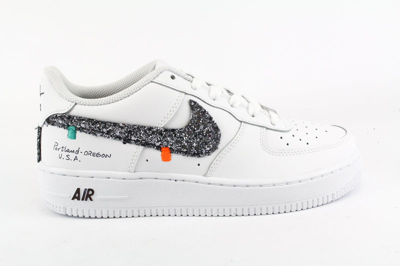 Nike Air Force 1 '07 Black Silver Glitter Ricami & Graffiti