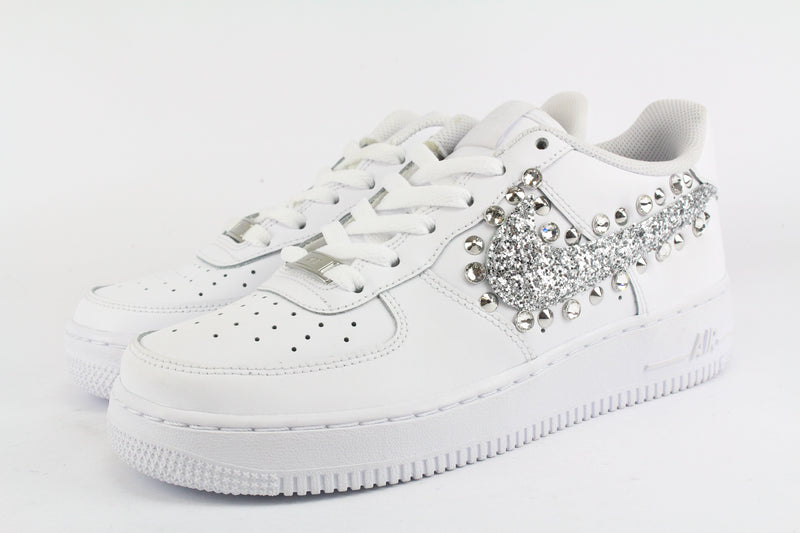 Nike Air Force 1 '07 Silver Glitter Borchie & Strass
