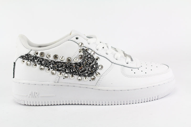 Nike Air Force 1 '07 Black Silver Glitter Borchie & Strass