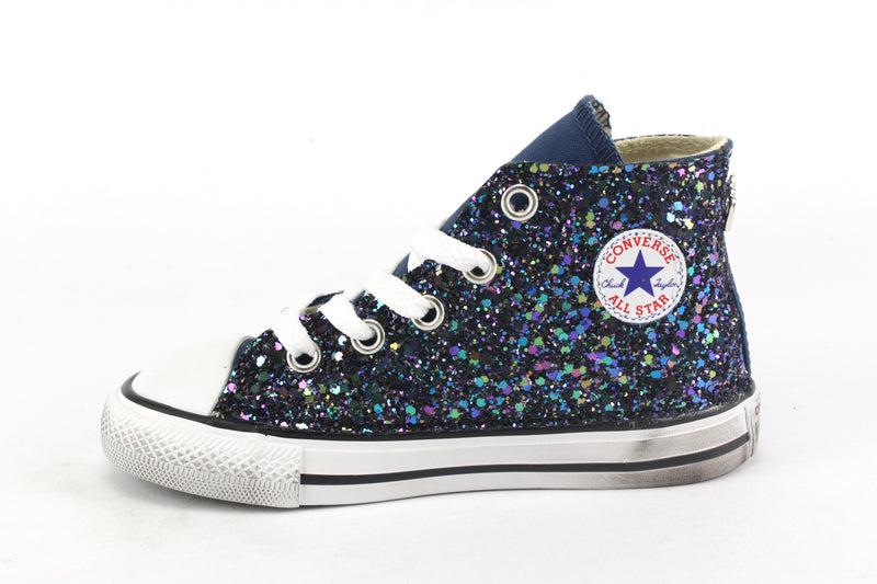 Converse All Star Navy Black Iris Glitter