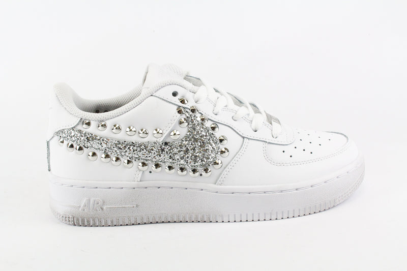 Nike Air Force 1 '07 Silver Glitter & Borchie