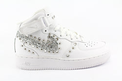 Nike Air Force 1 '07 Mid Silver Glitter Borchie & Strass
