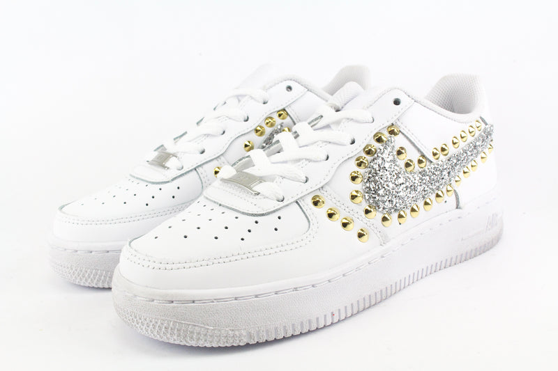 Nike Air Force 1 '07 Silver Glitter & Borchie Oro