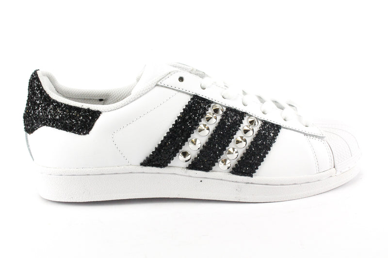 Adidas Superstar Black Glitter & Borchie