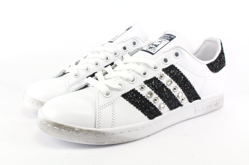 Adidas Stan Smith Black Silver Glitter & Strass