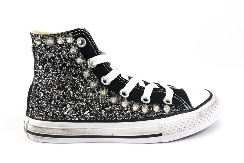 Converse All Star Black Silver Glitter & Borchie