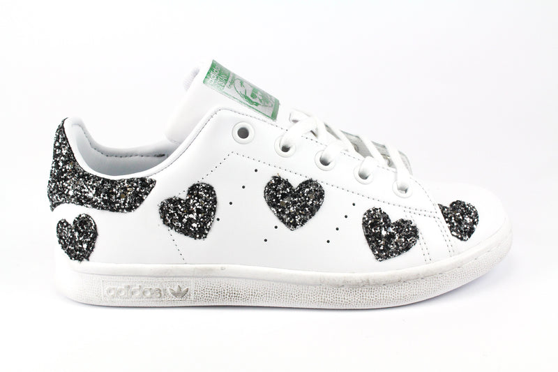 Adidas Stan Smith Cuori Black Silver Glitter