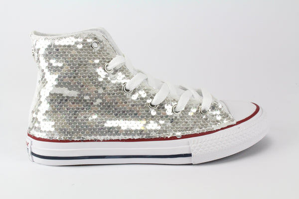 Converse All Star White & Silver Paillettes