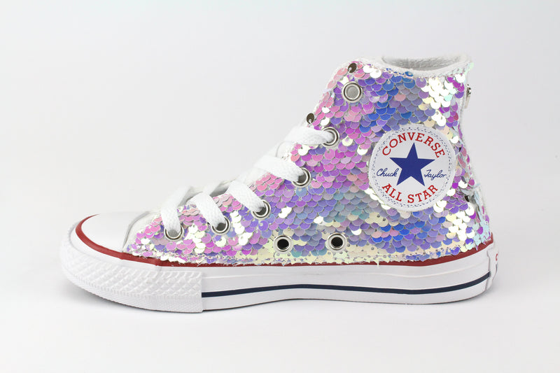 Converse All Star White & Paillettes Rosa
