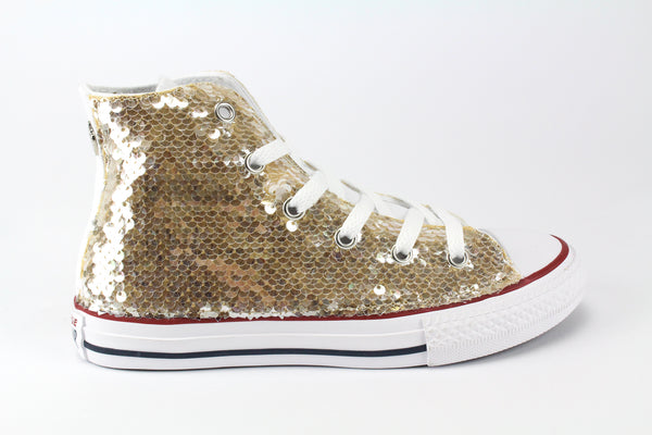 Converse All Star White & Gold Paillettes