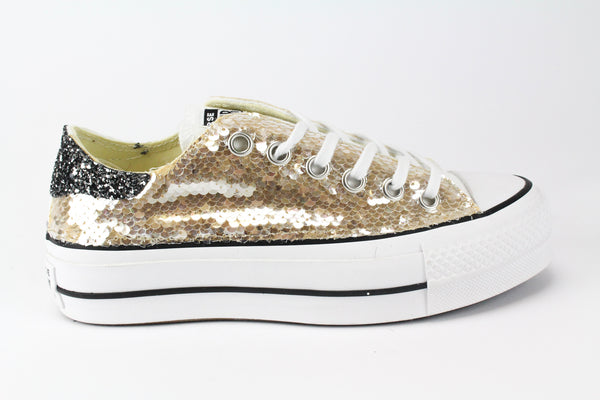 Converse All Star Platform Gold Paillettes & Glitter