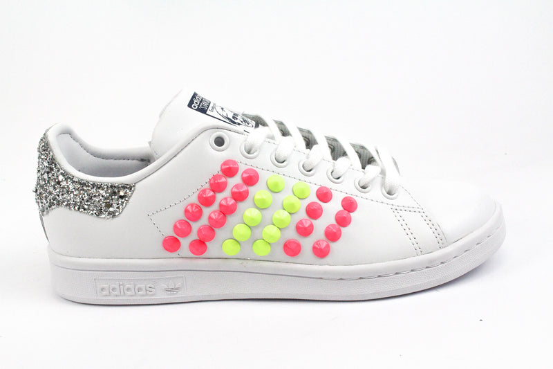 Adidas Stan Smith Borchie Fluo & Silver Glitter