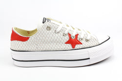Converse All Star Platform Total Pitone White & Pelle Rossa