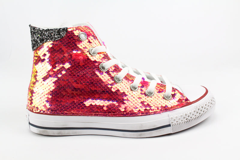 Converse All Star White & Rosa Fluo Paillettes