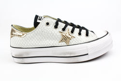 Converse All Star Platform Black Total Pitone White & Laminato Gold