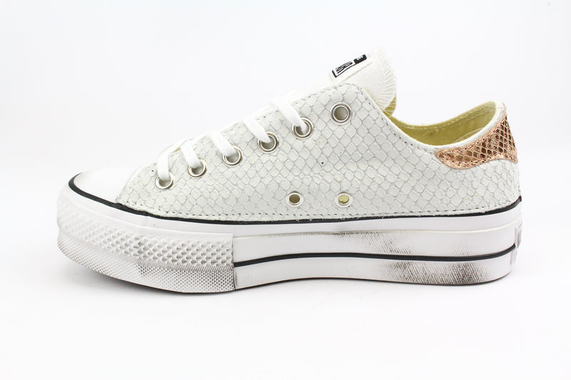 Converse All Star Platform Total Pitone White & Laminato Rosa
