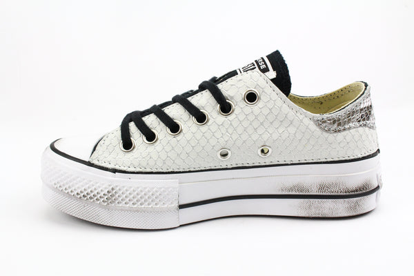 Converse All Star Platform Black Total Pitone White & Laminato Silver