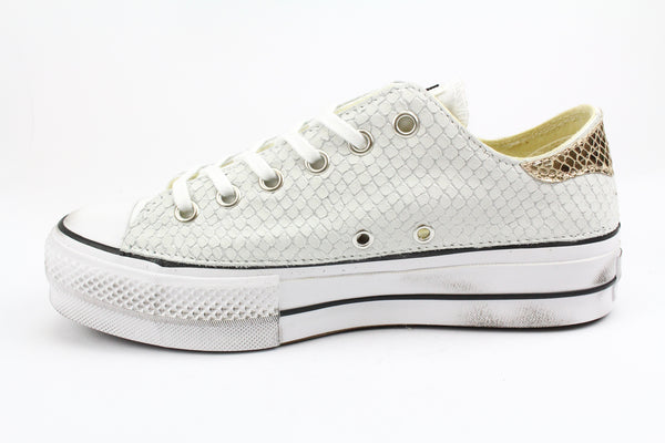 Converse All Star Platform Total Pitone White & Laminato Gold
