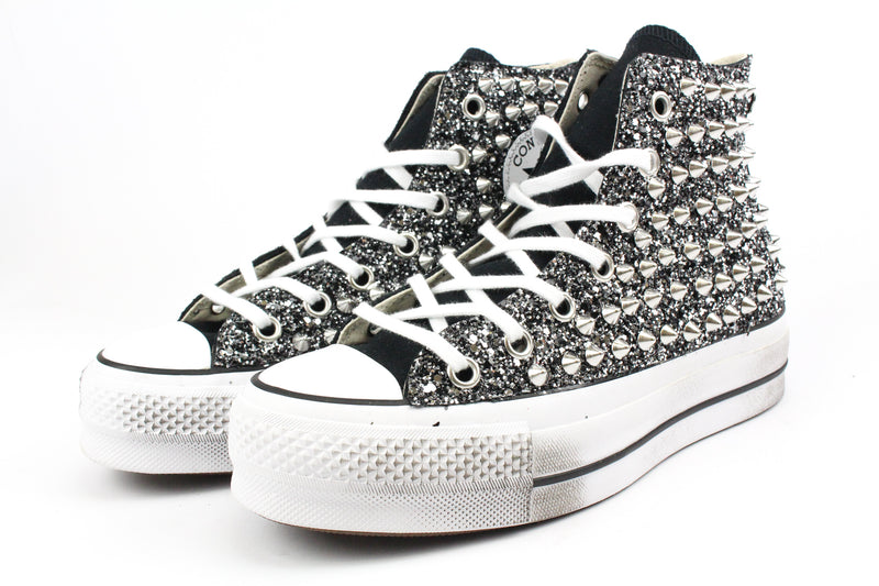 Converse All Star Platform Black Total Glitter & Borchie