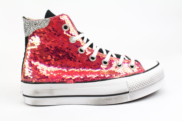 Converse All Star Platform Rosa Fluo Paillettes & Silver Glitter
