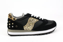 Saucony Jazz Black Maculate Gold Glitter & Borchie